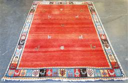 Sale 9174 - Lot 1371 - Red tone Afghan Gabbeh with colourful border (290 x 215cm)