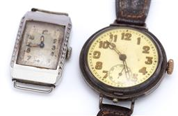 Sale 9194 - Lot 540 - TWO VINTAGE WRISTWATCHES; one in sterling silver with round dial, Arabic numerals, subsidiary seconds, 15 jewell Swiss movement, Lon...