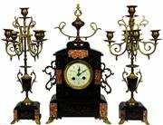 Sale 8065 - Lot 57 - Japy Frères French Black Marble Clock Garniture