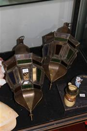 Sale 8189 - Lot 179 - Moroccan Coloured Glass Pair of Lamps