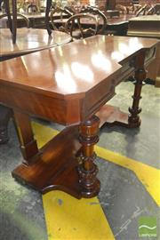 Sale 8267 - Lot 1079 - Victorian Probably Satinwood Side Table, with (later) top, single drawer & turned legs joined by a platform