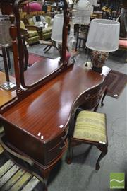 Sale 8341 - Lot 1061 - Timber Mirrored Back Dressing Table with Five Drawers on Cabriole Legs Together with Matching Stool