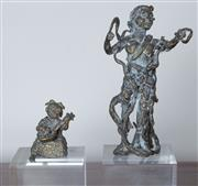 Sale 8800 - Lot 146 - A pair of Oriental bronze figures mounted on perspex stands, larger H 24cm