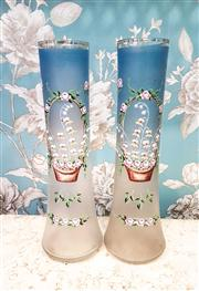 Sale 8577 - Lot 51 - An antique pair of Victorian powder blue vases featuring beautiful handpainted enamelled basket of flowers detail and gilded accents...