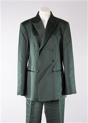 Sale 8740F - Lot 223 - A Richard Tyler, Eve forest green satin double breasted suit jacket and pants in polysester, both US size 12 (as new, pants with tags)
