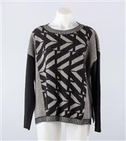 Sale 8760F - Lot 75 - A MaxMara Weekend wool and cashmere sweater in geometric black & white design, size large