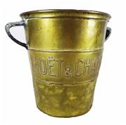 Sale 8828A - Lot 22 - French antique brass  Moet and Chandon champagne bucket, some dents / wear- 20 cm