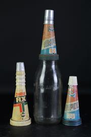 Sale 8963 - Lot 1 - An Early Ampol Oil Bottle With Tin Top With Spare Lid, A Plastic Castrol Example And 7 Stoppers