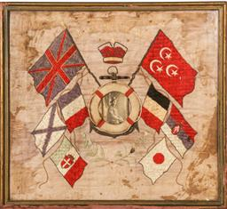 Sale 9098 - Lot 107 - A Silk Sampler Celebrating the Allied Victory in WW1, (A.F glass cracked), frame: 52 x 57 cm,