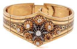 Sale 9132 - Lot 431 - A FRENCH ANTIQUE 18CT GOLD DIAMOND BANGLE; double hinged bangle inlaid with a band of black enamel, top with a detachable 40 x 29.5m...