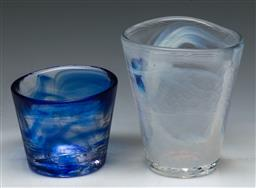 Sale 9144 - Lot 110 - A Duo of Ulrica Hydman Vallien for Kosta Boda Mine Glass Vases, Each Initialled to Base (H:10cm)