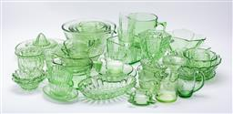 Sale 9185 - Lot 10 - Large Collection of green deco glassware, some uranium