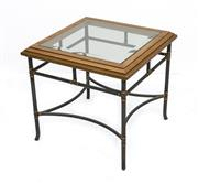 Sale 8216A - Lot 73 - Wire wrap side table, mild steel base russet finish, American oak timber top with bevelled edge with glass top, W 60 x D 60 x H 50cm...