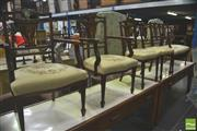 Sale 8291 - Lot 1040 - Latre Victorian Mahogany, Rosewood & Marquetry Salon Suite, comprising settee, pair of armchairs & three side chairs, with floral ta...