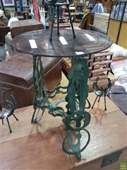 Sale 8566 - Lot 1602 - Industrial Metal Side Table with Dark Glass Top