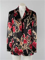 Sale 8800F - Lot 89 - A Moschino Jeans, Italian made floral print blazer in a lustrous cotton-blend fabric, size GB 16