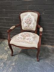 Sale 8962 - Lot 1020 - French Style Carver Chair with Tapestry Upholstery (H:87 x W:62 x D:60cm)