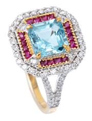 Sale 9012 - Lot 400 - AN AQUAMARINE AND GEMSET RING; centre claw set with a square step cut aquamarine of 1.45ct to surround of mixed cut rubies to border...