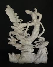 Sale 9015G - Lot 58 - Carved Marble Chinese Xian Nv Lady Sculpture .General Wear.Size 70cm H X 51cm Widest.