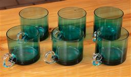 Sale 9120H - Lot 400 - Set of six turquoise glasses with clear handles