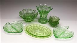 Sale 9131 - Lot 26 - Collection of green depression glass inc dishes, vases and bowls