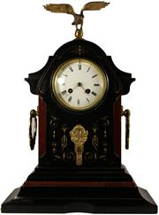 Sale 8065 - Lot 39 - French Black & Rouge Marble Clock