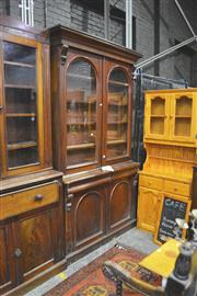 Sale 8093 - Lot 1541 - Victorian Mahogany Bookcase, with two arched glass panel doors and two matching panel doors, with two shaped drawers