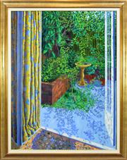 Sale 8257A - Lot 65 - Graham Marchant (XX) - View of Garden Courtyard 121 x 90cm