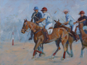 Sale 8677B - Lot 556 - Artist unknown, Polo players, acrylic on canvas, 91 x 122cm