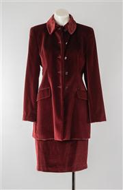 Sale 8740F - Lot 144 - A Vestimenta S.P.A, Italian made cotton-blend coat with matching skirt in wine-coloured velvet, both size IT 42