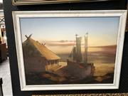 Sale 8853 - Lot 2073 - Artist Unknown - Sunset, Hut and Sail Boat acrylic on canvas, unsigned -