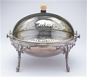 Sale 9080J - Lot 141 - An excellent quality antique English silverplate large roll over dish C: 1890. The oval roll over lid opening to reveal a pierced ov...
