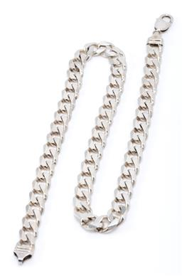 Sale 9177 - Lot 393 - A GENTS HEAVY SILVER CURB LINK CHAIN; 11mm wide links to parrot clasp, length 49cm, wt. 88.04g.