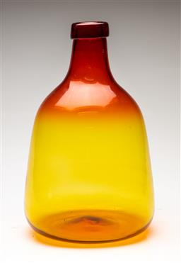 Sale 9209V - Lot 100 - A large red and yellow tinted glass bottle (H:39cm)