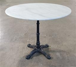 Sale 9255 - Lot 1368 - Waterproofed round marble top table on cast iron base (h:75 dia:90cm)