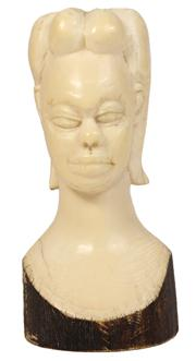 Sale 7978 - Lot 76 - Ivory Carved Bust of an African Girl