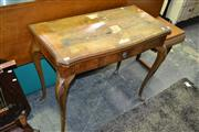 Sale 8093 - Lot 1523 - Veneered Timber Fold Over Card Table w Single Drawer on Cabriole Legs