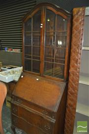 Sale 8331 - Lot 1576 - Queen Anne Style Timber Bureau Bookcase with Three Drawers on Cabriole Legs