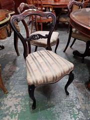 Sale 8728 - Lot 1062 - Set of Six Early Victorian Rosewood Dining Chairs, with shaped backs, striped seats & cabriole legs