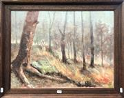 Sale 8759 - Lot 2020 - H. Eric Oiderman - Bushfire. Kurrajong Heights , oil on canvas on board, 45 x 59.5cm, signed lower right -