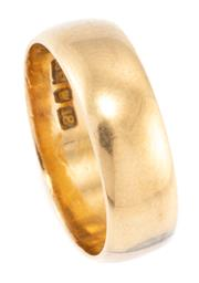 Sale 8915 - Lot 365 - AN ANTIQUE 18CT GOLD WEDDING BAND; 6.4mm wide half round band hallmarked S.D &Co. for Stewart Dawson & Co, (resized) size O, wt. 5.30g.