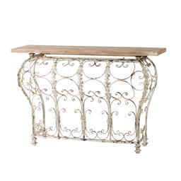 Sale 9140F - Lot 109 - An antique white finish curved based iron console table with fir wood top. Dimensions: W140 x D45.7 x H98 cm