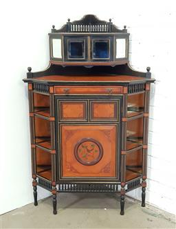 Sale 9162 - Lot 1015 - Late Victorian satinwood & ebonised aesthetic corner cabinet, with a slightly raised glass panel door display section, above a long...