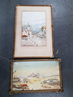 Sale 9155 - Lot 2075 - Jan De Leener (two works) Lucerne & Middle Eastern Scene, watercolour, frame : 66 x 46 and 34 x 55 cm, each signed -