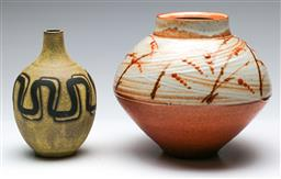 Sale 9168 - Lot 33 - A studio pottery UFO shaped vase (H:19.5cm) together with another (H:17cm)