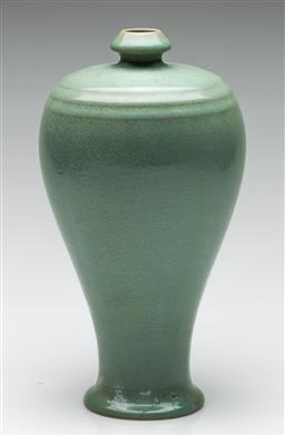 Sale 9190 - Lot 57 - A Chinese celadon vase - large repair to base (H:27.5cm)