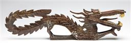 Sale 9238 - Lot 73 - A carved timber water dragon figure (L:53.5cm)