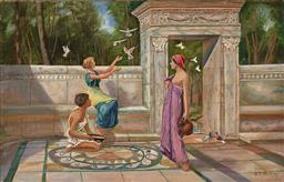 Sale 9256A - Lot 5130 - B.C. HOSKING - Antiquity scene With Doves oil on canvas 33 x 51 cm
