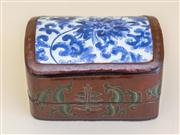 Sale 8259A - Lot 84 - A Chinese Blue and White and Hardwood Box and Cover, 	modelled in two parts, 18 x 10 x 14cm