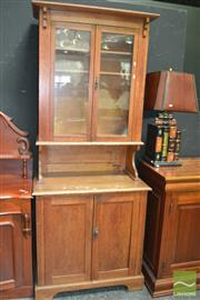 Sale 8431 - Lot 1015 - Kitchen Dresser with Glass Cabinet Top